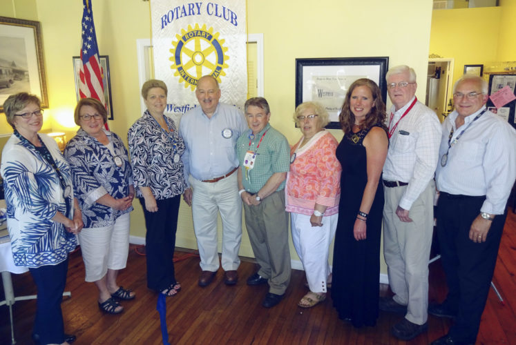 Submitted Photo At the June 20 meeting of the Rotary Club of Westfield-Mayville, which was held at The Parkview in Westfield, the installation of this organization's officers and board members for the 2017-2018 club year was held. Club leaders include, from left: President Janese Berkhouse, President-elect Mary Swanson, Secretary Cindy Harper, Treasurer Tracy Bennett, Directors Dan Smith, Luci Petrella, Adele Harrington and Tom Berkhouse, and immediate Past President Mike Harrington. Also serving on the board are Directors Pete Bills and Dave Travis, who were not present.