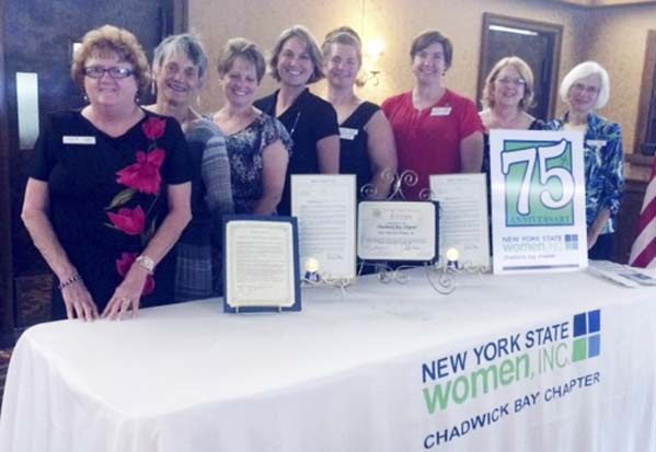 Submitted Photo Chadwick Bay NYS Women Inc. recently celebrated its 75th anniversary. Pictured from left are: Sue Mager,  NYS Women Inc. representative; Ramona Gallagher, Region VIII representative; Chadwick Bay Chapter representatives: Debbie Dillenburg, secretary; Tanya Burns, first vice president; Brenda Lewis, second vice president; Casey Siedel, treasurer; Connie Wojcinski, president; and Nancy Steffan, corresponding secretary.
