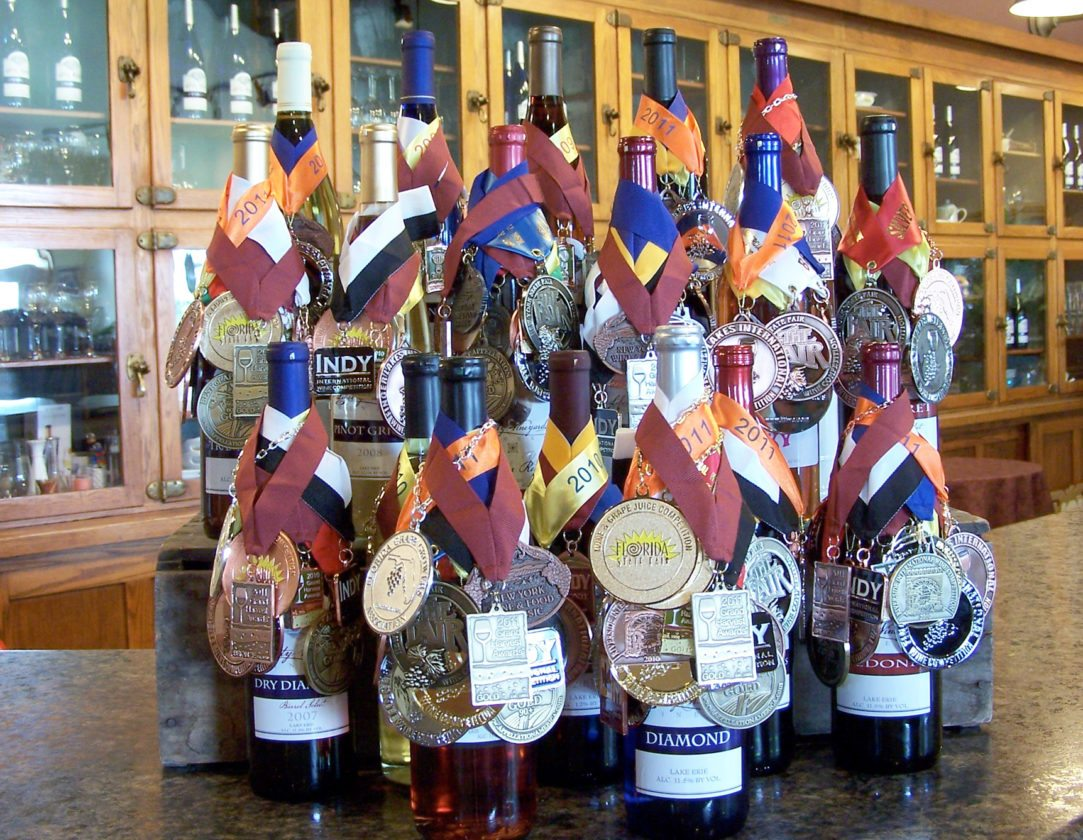 Submitted Photo Pictured are awards recently won by Liberty Vineyards at the  Indy International Wine Competition and the Dan Berger International Wine Competition.