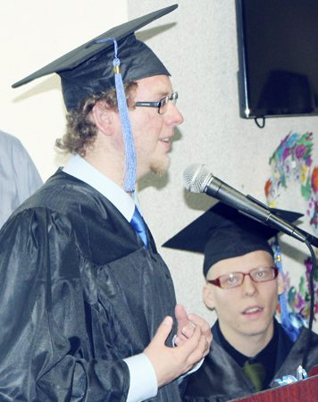 "Submitted Photos Above: Nate Bonafede, Jenna Fisher, Johnathan Sheldon, Trever ""Jimmy"" Kneer, Josh Eidens, Devin Bush and Donovan Silleman are members of the Special Education division's Class of 2017 at the LoGuidice Educational Center in Fredonia. Below: Graduating senior Johnathan Sheldon of Dunkirk City Schools took home two awards and offered a heartfelt goodbye to his fellow graduates and the staff at Erie 2-Chautauqua-Cattaraugus BOCES during the ceremony."