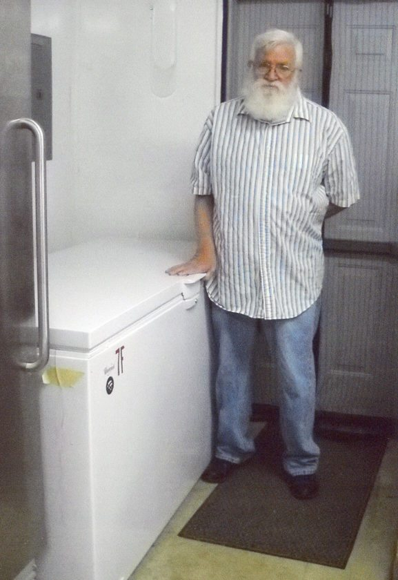 Submitted Photo Pictured at right is Howard Malarkey with the new Brocton Portland Food Pantry freezer.