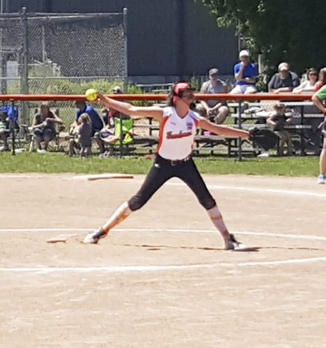 Submitted Photo Pictured is Fredonia softball minors pitcher Emerson Bird, who has pitched her team into the state tournament, which will be held in Dunkirk starting July 19.