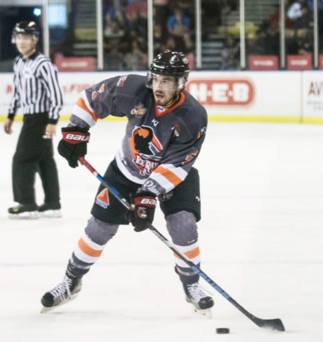 Submitted Photo Pictured is Fredonia native, Cody Fleckenstein playing for the Corpus Christi Ice Rays during what proved to be his breakout season.