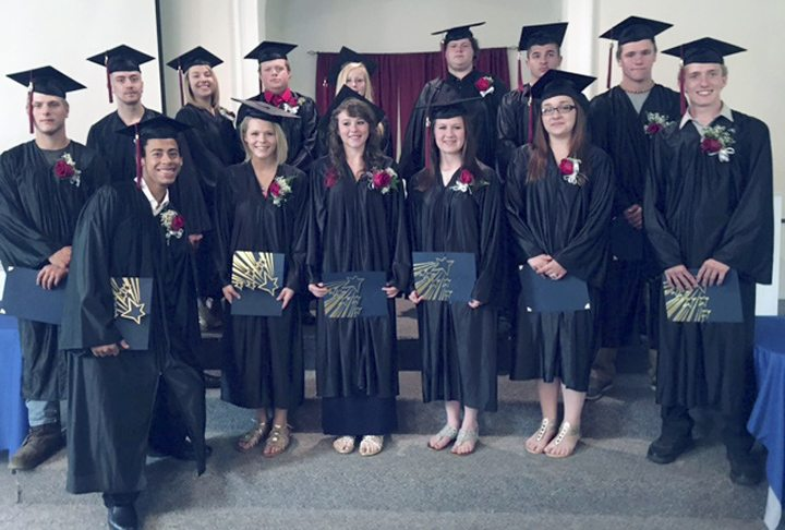 Submitted Photo Students from the inaugural graduating class from the Academy at Maple Avenue in Cassadaga are pictured after commencement. Front row: Nathan Giordano, Kaitlyn Michael, Ericka Farnham, Breanna Smith, Alysson Caron, and Seth Munson. Back row: Tylar Grimes, Anthony Mueller, Karli Campaign, Nathaniel Briggs, Cheyanne Barrington, Alan Abbey, Armando Arce, and Collin Bailey. Not pictured: Jay Cerrie, Nathan Rhodes and Jacob Steves.