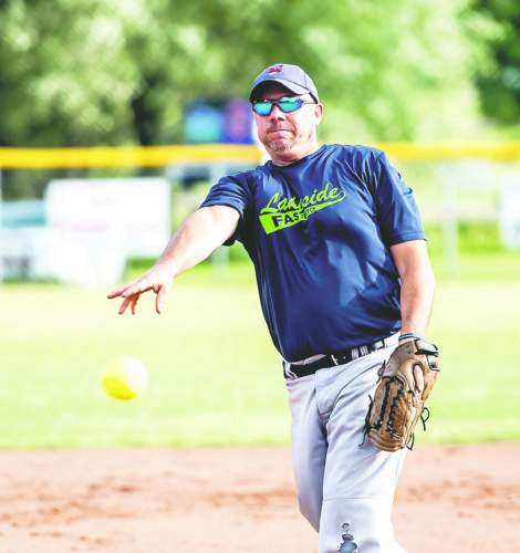 OBSERVER Photo by Ron Szot: Above is a Lakeside pitcher, Scott Kawski, from Friday's First Ward Fastpitch softball tournament in Dunkirk.