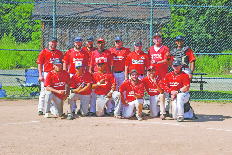 OBSERVER Photo by Gib Snyder III Pictured are members of Erie Budweiser after it won the 42nd annual First Ward Falcon Club Men's Fastpitch Tournament on Sunday at Promenschenkel Stadium, in Dunkirk.