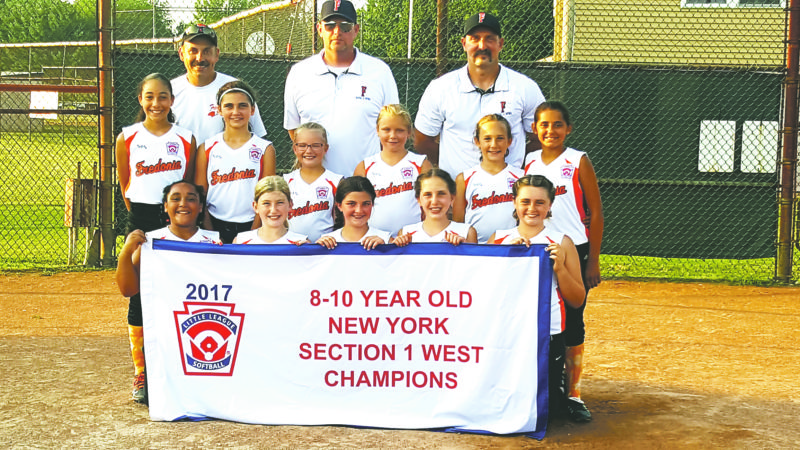 Submitted Photo. The Fredonia minors All-Stars softball team will represent Section 1 West in the upcoming New York state softball tournament. Fredonia's first game is scheduled for Wednesday, July 19 at 2 p.m. The state tournament takes place at the Ed Wisniewski Little League Complex in Dunkirk. Pictured in front, from left are Jaelyn Davis, Addison Paluch, Emerson Bird, Elspeth VanDette and Jordan Lucas. In the middle row are Keilani Diaz, Sophia Gullo, Madison Ambrose, Rhianna Benner, Leah Marsh and Francesca Pucci. In the back row are coaches Kevin Lucas and Chris Bird and manager Scott VanDette.