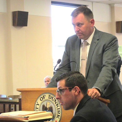 OBSERVER Photo by Damian Sebouhian Chautauqua County District Attorney Patrick Swanson questions a witness during the felony hearing for Rebecca Ruiz. Ruiz will be facing a grand jury trial in the shooting death of her boyfriend Julian Duman, who she may have accidentally killed in a case of mistaken identity.