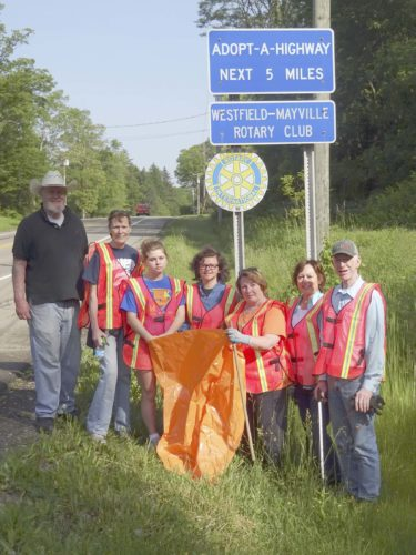 Submitted Photo: Five Rotary Club of Westfield-Mayville members and two teen volunteers picked up three large bags of litter along a two-mile stretch of Route 394 in Westfield in June. Participants, from left: event chair Don Dowling, Barbara Fay, her two daughters Katie Fay and Kelly Fay, Mary Swanson, Sue Hammond and Jim Wakeman.