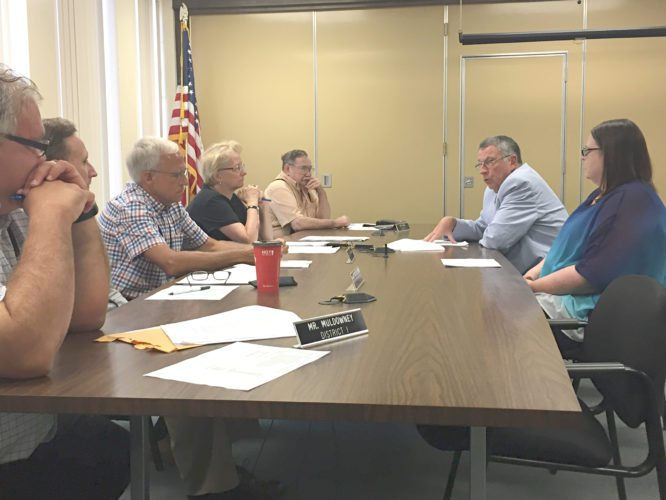 OBSERVER Photo by Jimmy McCarthy. County Executive Vince Horrigan discusses why he's proposing to give $100,000 to the Chautauqua Lake and Watershed Management Alliance during Thursday's Audit and Control Committee meeting.