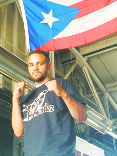"OBSERVER Photo by Jared Hill: Pictured is professional boxer Ivan ""Hurricane"" Hernandez at ECSA in Dunkirk. Hernandez will be fighting at WFC 76, Aug. 5, in Pittsburgh."