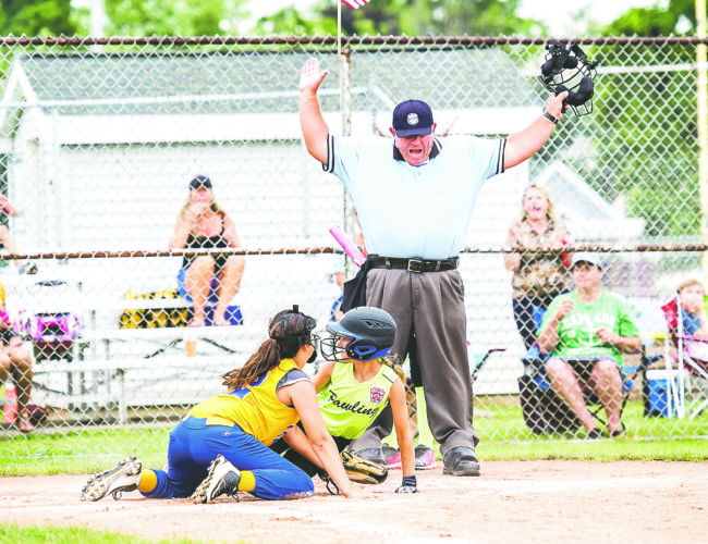 OBSERVER Photo by Ron Szot: Pawling's Lyndsey Cole is ruled safe by the umpire at home plate.