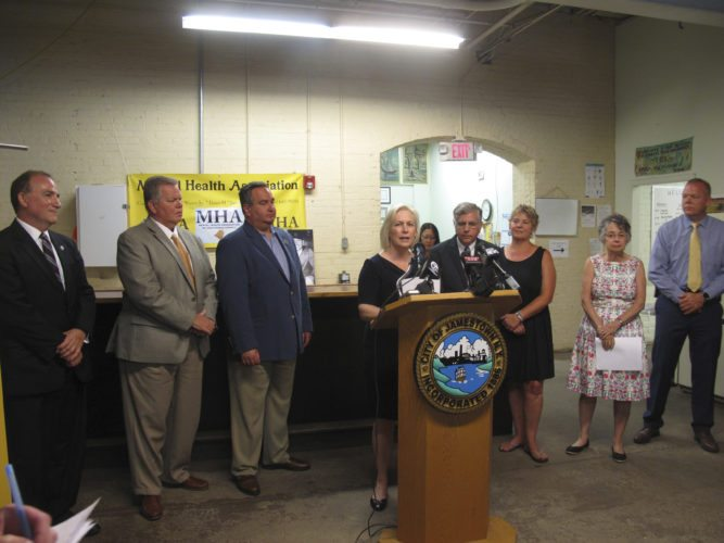 U.S. Sen. Kirsten Gillibrand, D-N.Y., visited the Mental Health Association in Chautauqua County on Monday to announce the Opioid Addiction Prevention Act, which limits the supply of an initial opioid prescription for acute pain to seven days.