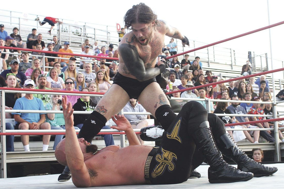 OBSERVER Photo by Lisa Monacelli Southern Tier Wrestling made its return to the Chautauqua County Fair Wednesday night as spectators cheered on their favorite local wrestlers.
