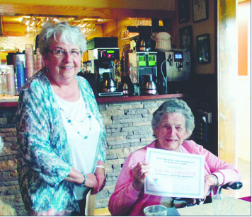 "Submitted Photo: ""Happy Birthday"" was heard through the room with all members of the Mayville Tuesday Club singing the birthday song when Rose Marie Maudling celebrated her 90th birthday in June with a special photo/recognition presented by club president, Dianne Goodrich."