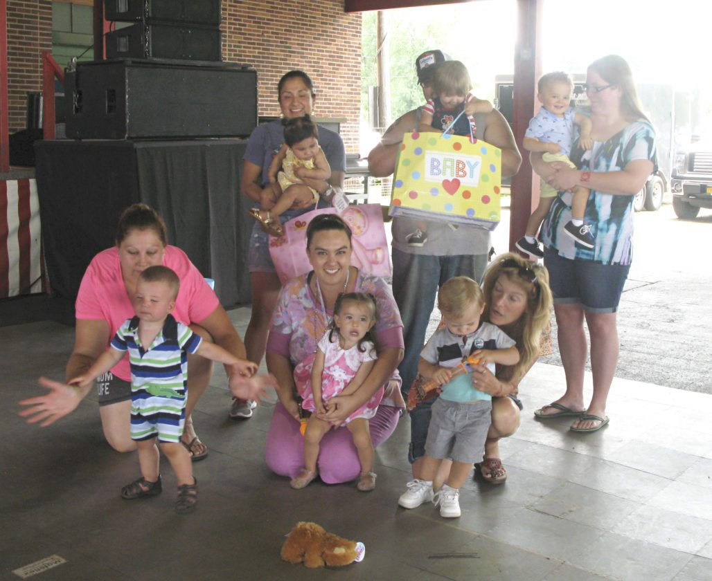 OBSERVER Photo by Amanda Dedie Winners of the baby parade, from left to right — back row: Priscilla Porter of Dunkirk (Best Smile), Arabella Pokoj of Dunkirk (Friendliest), Jayden Rivera of Dunkirk (Most Serious); front row: Wyatt Winton of Sinclairville (Most Mischievous), McKenna Bigelow of Portland (Most Feminine); and Gavin Mangus of Fredonia (Most Masculine).