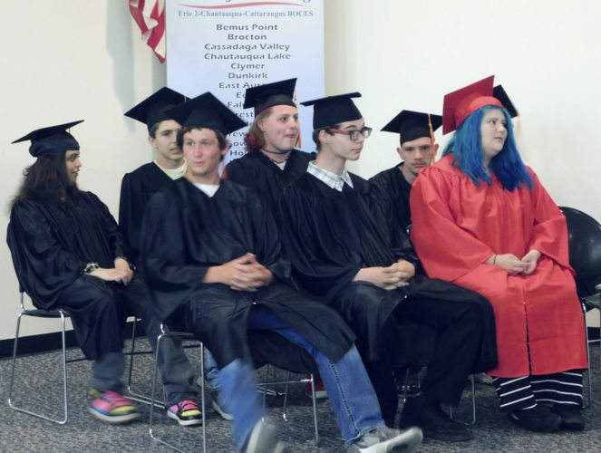 Submitted Photo The Class of 2017 awaits presentation of diplomas at the Hewes Educational Center in Ashville on June 12.