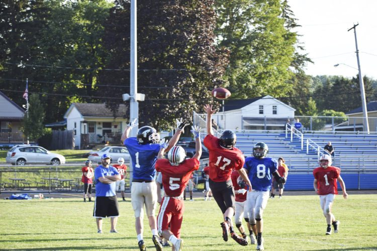 OBSERVER Photo by Andrew Kuczkowski Carter Hoffman (17) of Wellsville goes up to bat the ball away from receiver Caleb Caldwell (1) of Frewsburg in a red zone situation.
