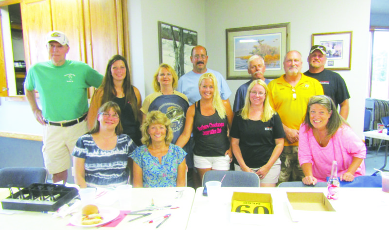 OBSERVER Photo by Gene Pauszek: Pictured are Northern Chautauqua Conservation Club Walleye Derby Committee members. From left, in front: Sue Buck, Susan Bell, Jackie Edwards, Diane Steel and Micki Feeney. In the back row: Mike Stanton, Alicia Munch, Cindy Zolnoske, Don Salemi, Zen Olow, Don Merckel and Jim Steel.