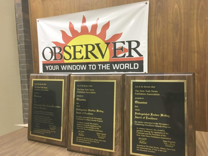Above: Three plaques awarded to the OBSERVER this year by the New York News Publishers Assocation. Right: This page won the 2016 Distinguished Page Design/Presentation.