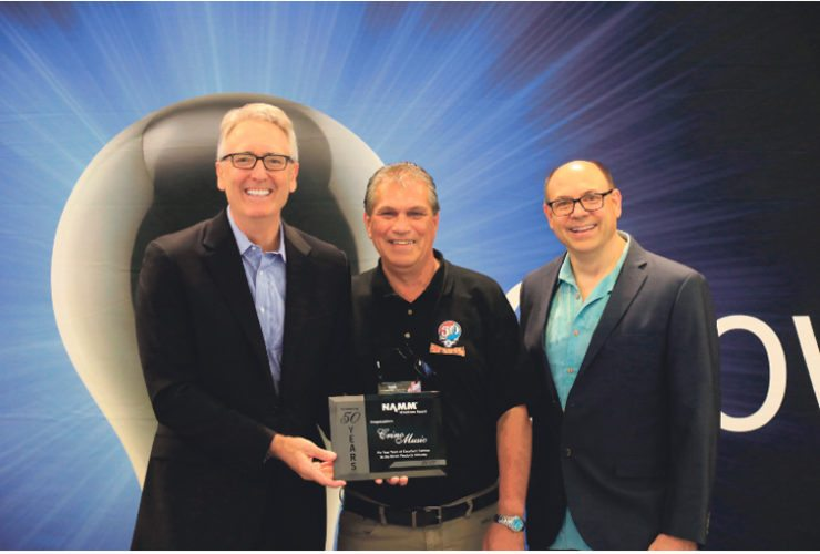 Submitted Photo Stephen Colicchia, owner and operator of Crino Music in Dunkirk was honored with the National Association of Music Merchants milestone award for 50 years of service.
