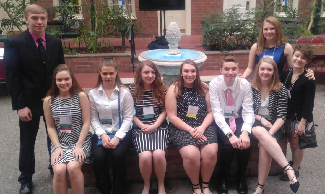 Submitted Photo Nine members of the Silver Creek Key Club traveled to Albany for a leadership training convention in the spring. Seated: Senior Claire Castiglia, junior Alexis Murawski,– senior Savannah Karcz, junior Kennedy Parks, junior Ryan Rocque, and junior Allison Karcz. Standing: Junior Zach Rybak, senior Dariann Russo and junior Lauren Grover.