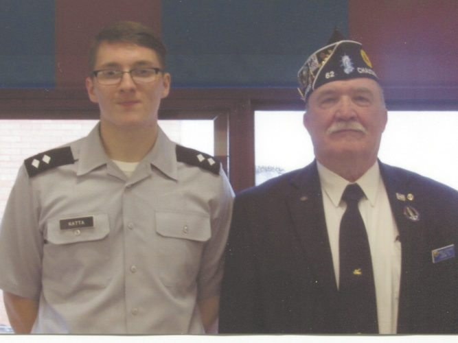 Submitted Photo Brandon Katta receives the Frank Acquavia Memorial Scholarship from Post 62 Commander James Lemanski.