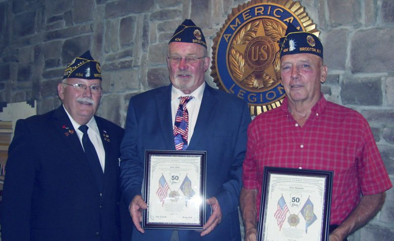 Submitted Photo: The John W. Dill American Legion Post 434 Brocton recently honored 50-year members Rick Manzella and Dale Miller with a certificate for their 50 years of continuous membership in Post 434 and an honorary life membership. Being Vietnam veterans, they joined Post 434 in 1967 upon returning  from  the United States Marines. Manzella is  a past member of the post board of directors and owns and operates his farm in Portland. Dale, a past Post Commander, moved to Florida several years ago. Unfortunately, Miller is experiencing ill health at this time. Pictured from left are: Post 434 Commander Henry Link, 45-year-member Gary Miller accepting for his brother Dale, and Rick Manzella.