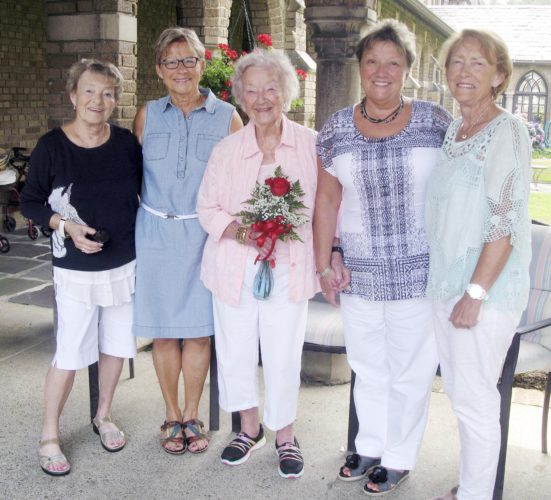 Dorothy Mangano celebrated her 97th birthday with her daughters on Thursday at St. Columban's on the Lake in Silver Creek. Pictured from left are: Linda Mendola of North Carolina, Jill Conley of Lakewood, Dorothy Mangano, Roberta Belote of Florida and Suzanne Burst of Rochester.