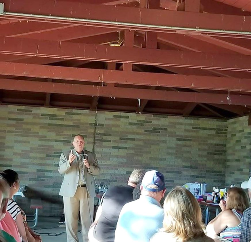 Submitted Photo Chautauqua County Executive candidate Mike Ferguson addresses those in attendance at the recent Dunkirk Democratic Committee annual Chicken Barbecue at Point Gratiot.