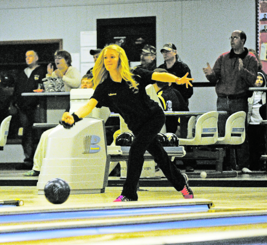 OBSERVER File Photo Emily Dillenburg rolls a shot as a member of the Forestville Hornet's high school bowling team. Prior to her earning accolades in the demo derby arena, Dillenburg was an accomplished athlete, including being named to the 2012-13 ADPRO Sports/Section 6 Scholar-Athlete All-Western New York Girls Bowling Team.