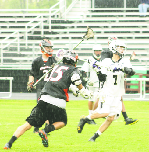 OBSERVER File Photo Former Gowanda/Silver Creek Black Panther Chase Scanlan (7), loads up on a shot during his school lacrosse playing days.