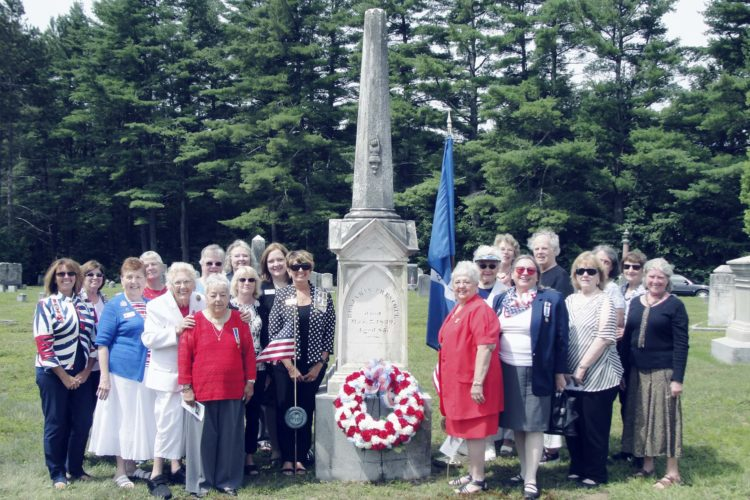 Submitted Photo Members of the Benjamin Prescott Chapter NSDAR from Fredonia and the Mary Varnum Platts-Peterborough Chapter NSDAR from Jaffrey, New Hampshire, came together to celebrate Colonel Benjamin Prescott at a grave-marking ceremony in Jaffrey.