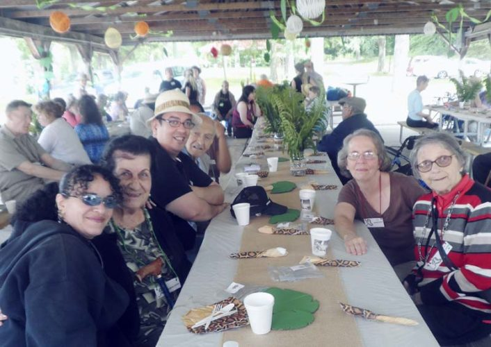 Submitted Photo: Pictured are some of the participants at the Chautauqua Adult Day Services Senior Day program annual picnic at Midway Park. Clockwise from lower left are Yilmarie Grau, Maria Nagle, Errol Ortis-Castro, Kamen Kamenov, Sue Delcamp and Barbara Barberich.