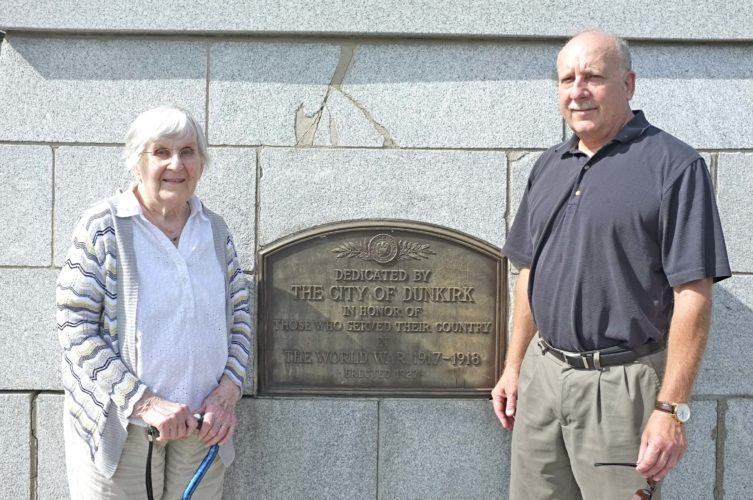 Submitted Photo: Judge John Kuzdale (right) with his mother Evelyn at Dunkirk's Memorial Park on the 100th anniversary of WWI. Judge Kuzdale's maternal and paternal grandfathers were both Navy veterans and are listed on Dunkirk's monument to WWI.