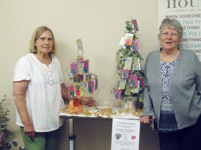 Submitted Photo: The WCA Home is raising money for The Alzheimer's Association. It is raffling two $25 lottery trees. The winners get the tickets, but not the trees. Pictured with the trees are Betty Martino, left, and Glenda Nichols, right. Tickets can be purchased at the WCA Home, 134 Temple St., Fredonia. Ticket costs  are 1 for $3, 2 for $5 or 5 for $10. All money raised will be donated to The Alzheimer's Association. The drawing will be held on Sept. 9, and tickets can be purchased any time before the drawing. Winners will be notified by phone to pick up their prizes.