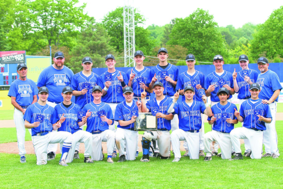 OBSERVER File Photo: Nolan Hunt (15), kneeling on far left, and the Westfield Wolverines won the 2015 sectional title. Hunt advanced his athletic career as he played summer ball with the Jamestown Jammers, whose season ended in the championship game versus Mohawk Valley DiamondDawgs. Hunt is entering his junior year at Canisius College in Division I baseball.