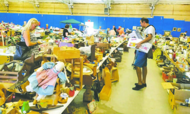 OBSERVER Photo: The annual Lake Shore Humane Society yard sale was under way on Friday at the Chautauqua County Fairgrounds. Plenty of items are for sale inside and outside Floral Hall to benefit the shelter for animals. The event continues today from 9 a.m. to 5 p.m. and Sunday from 9 a.m. to 4 p.m.