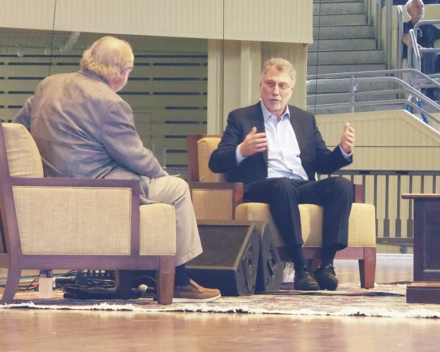 Photo by Katrina Fuller: Marty Baron, executive editor of The Washington Post and former editor of The Boston Globe, discussed changes in journalism at Chautauqua Institution on Friday. Baron was interviewed by Eric Newton, Arizona State University's Walter Cronkite School of Journalism and Mass Communication innovation chief.