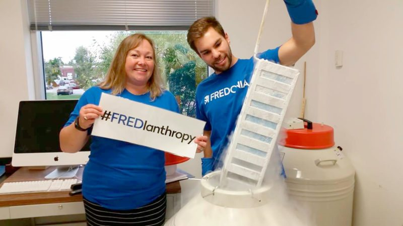 Fredonia alumni Nick Catanzaro, '13, with Dr. Deborah Good, '87, at Virginia Tech, having fun celebrating last fall's #FREDlanthropy Day.