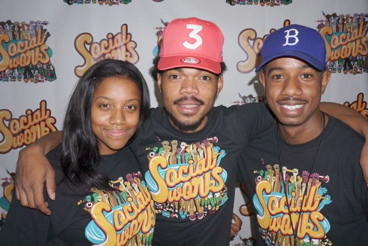Justin Cunningham (right), with fellow SocialWorks founders Essence Smith and Chance the Rapper.
