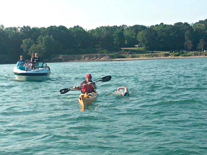 """Photo courtesy of the """"Swimming For The Great Lakes"""" Facebook page. Dr. Sherri Mason was unable to complete her swim across Lake Erie due to turbulent waters."""