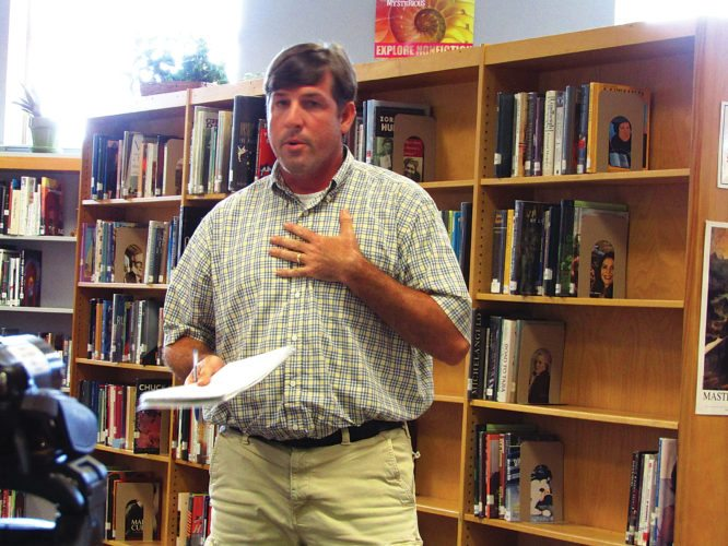 OBSERVER Photo by Greg Fox Luke Gullo speaks at Tuesday's Fredonia Board of Education meeting.