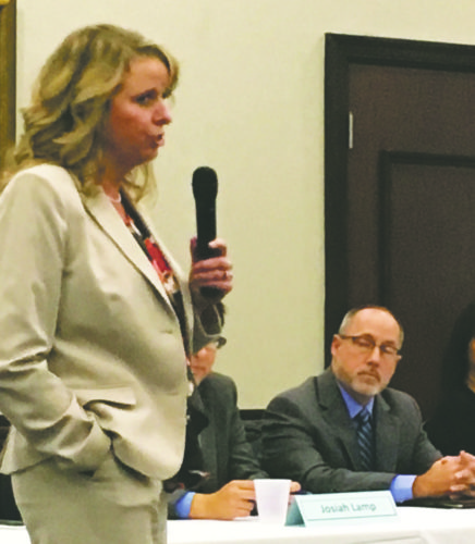 OBSERVER Photo: Non-panelist Christine Schuyler contributed to the Community Forum on Poverty in Dunkirk on Wednesday.