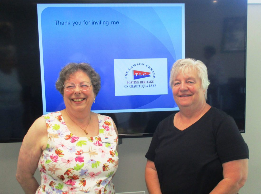 Submitted Photo: Bemus Point Lawson Center Vice President Patricia Baldwin, left, is greeted to the Mayville Tuesday Club by club Vice President Roberta Tempas. All enjoyed hearing about Lawson's history and changes.