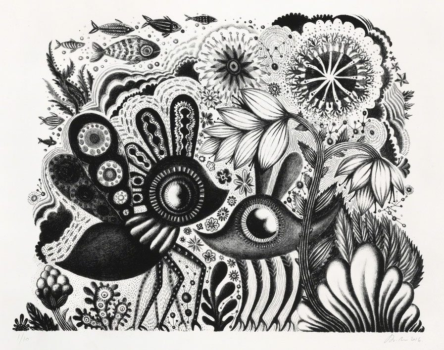 "Submitted Photo: Andrea Dezso's ""Garden Beings 2,"" a stone lithograph, will be among her works on display in an exhibition at the Cathy and Jesse Marion Art Gallery at the State University of New York at Fredonia starting Sept. 5."