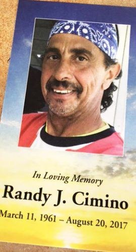 OBSERVER Photo Randy J. Cimino died after a battle with cancer on Aug. 20.