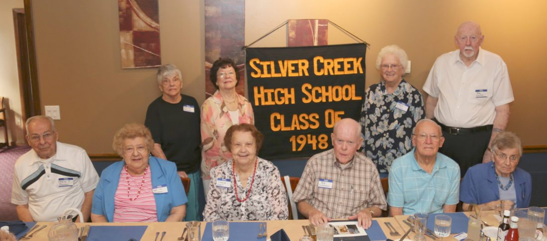 Submitted Photo SCHS Class of 1948 classmates, front row: Marion J. Pagano, Mary Lou Pelletter Pagano, Nancy Westover Kent, Bob Sutehall, Ted Welch, Irene Cross (guest); back row: Mary Lou Connell Ragusa, Lucille Purdy MacCubbin, Marge Brennan Foxton, and Ray Dunkel.