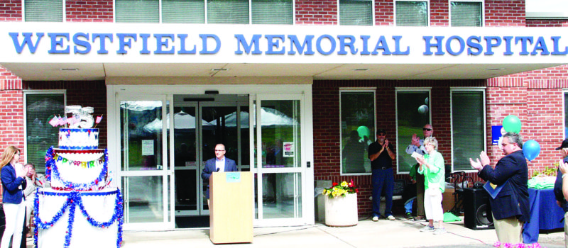 OBSERVERPhotos by Tonja Dodd: In the main photo, Westfield Memorial Hospital Administrator, Peter Pascale, addresses attendees of the hospital's 75th birthday party, Saturday.