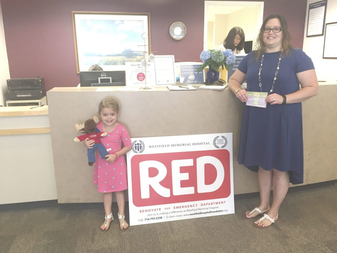 Submitted Photo: Grateful parent Erica Belson of Westfield, seen here with her 5 year-old daughter, Alivia, donates to the WMH Foundation RED (Renovate our Emergency Department) Campaign.